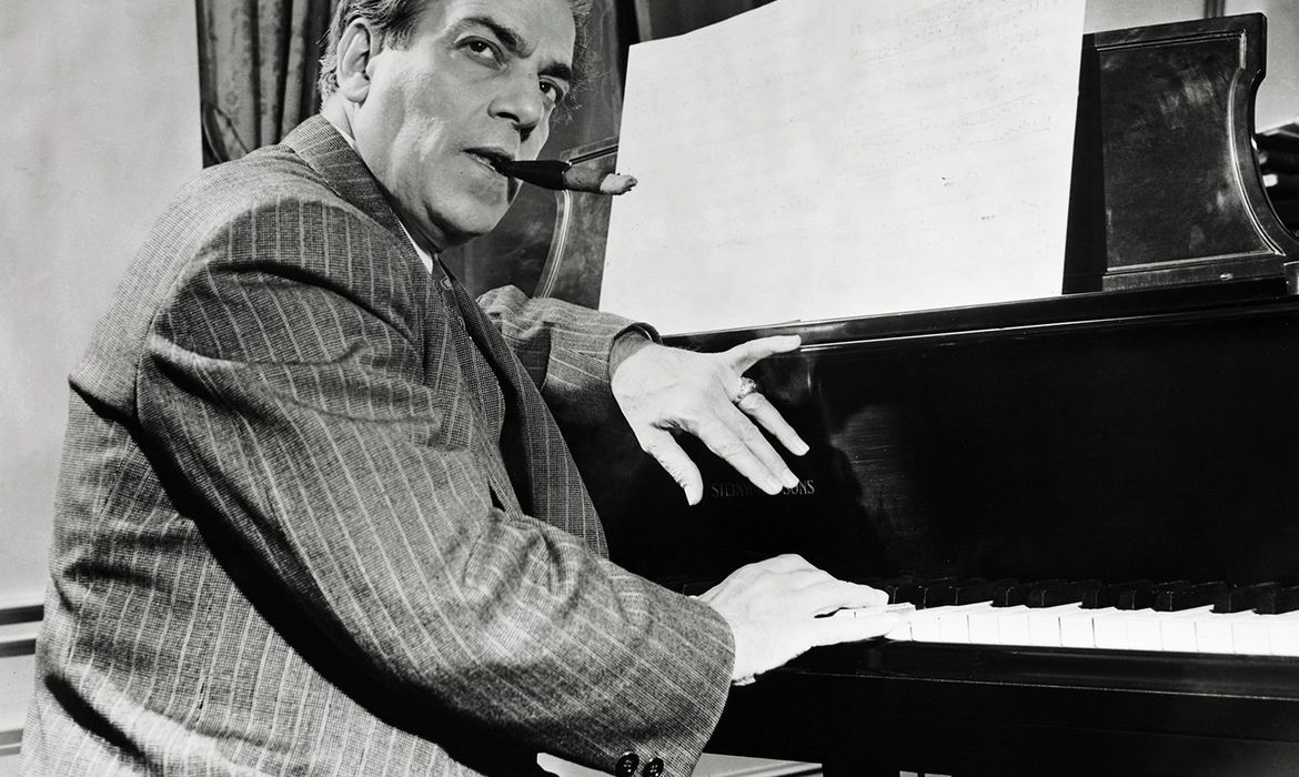 Composer Heitor Villa-Lobos at the Piano