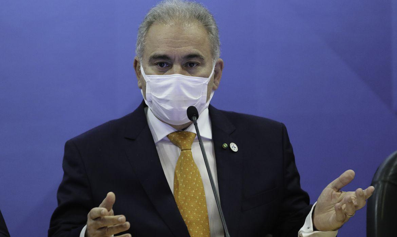O ministro da Saúde, Marcello Queiroga,durante anúncio à imprensa, sobre a produção de vacinas no Brasil