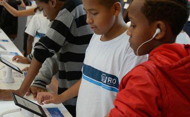 computador, crianças, tablets, internet, tecnologia