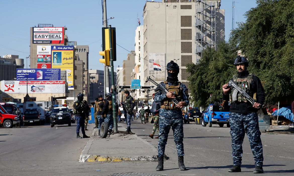 Site of a twin suicide bombing attack in a central market in Baghdad