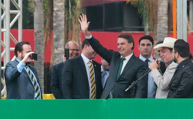 O presidente Jair Bolsonaro participa, na manhã desta quinta-feira (21), em Brasília, do evento de lançamento do partido Aliança pelo Brasil