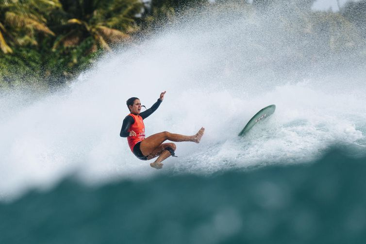 TAITUNG, TAIWAN - DECEMBER 7 : Chloe Calmon from Brasil is eliminated from the 2019 Taiwan Open World Longboarding Championship with an equal 3th finish after placing second in semi final Heat 2 at Jinzun Harbour on December 7, 2019 in Taitung County, Tai