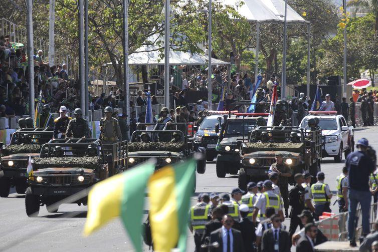 Desfile cívico-militar na Esplanada dos Ministérios, em Brasília.