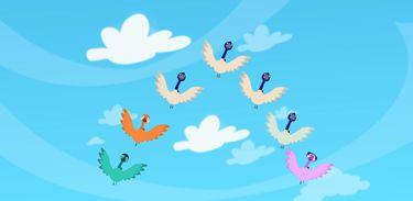 Por que alguns pássaros voam em v quando viajam longas distancias?