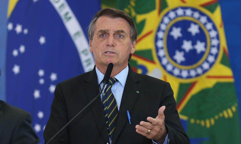 O presidente Jair Bolsonaro, durante o anúncio das Novas Medidas da CAIXA de Apoio às Santas Casas e aos Hospitais Filantrópicos