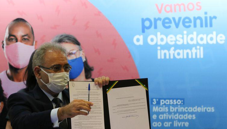 O ministro da Saúde, Marcelo Queiroga, durante o lançamento da Campanha Nacional para Prevenção da Obesidade Infantil