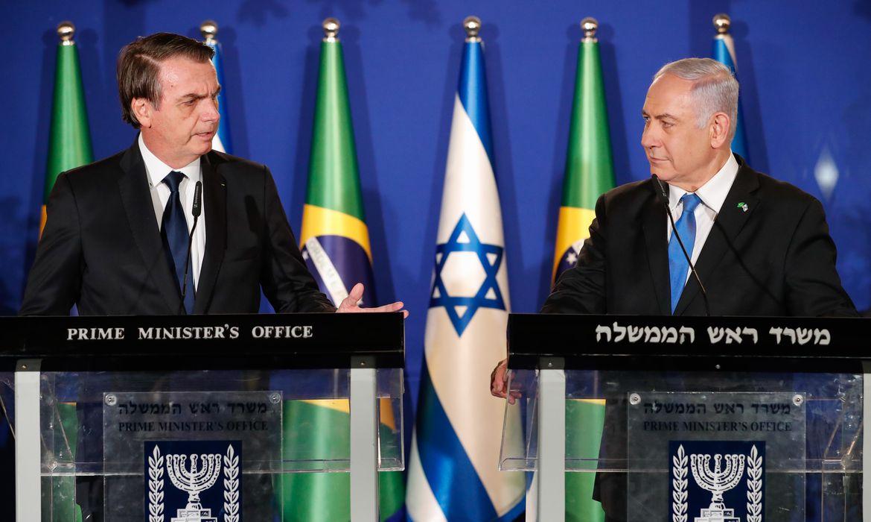O presidente da República, Jair Bolsonaro, e o primeiro-ministro de Israel, Benjamin Netanyahu, durante declaração conjunta em Jerusalém.
