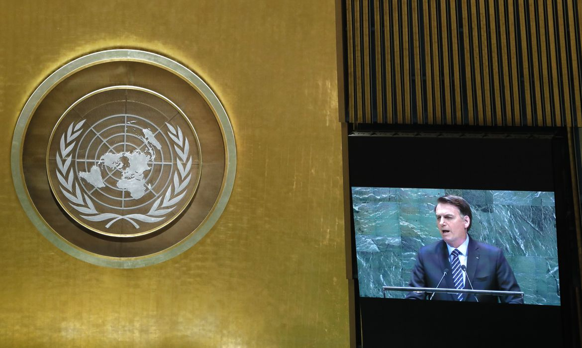 Brazil's President Jair Bolsonaro is seen on a video screen as he addresses the 74th session of the United Nations General Assembly at U.N. headquarters in New York City, New York, U.S., September 24, 2019. REUTERS/Lucas Jackson