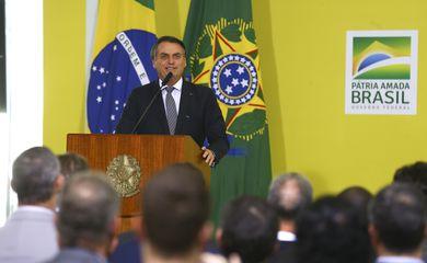 O presidente da República, Jair Bolsonaro, durante o Lançamento da Campanha Semana do Brasil