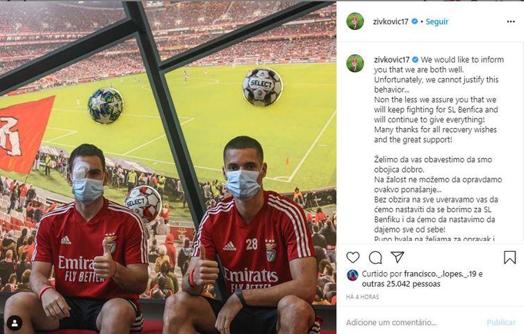 Zivkovic publicou mensagem na conta dele, no Instagram, dizendo estar bem