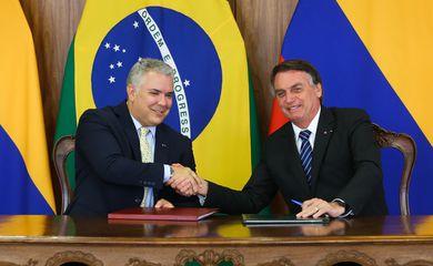 O presidente da Colômbia,  Iván Duque Márquez e recebido pelo  presidente da República, Jair Bolsonaro,  no Palácio do Planalto