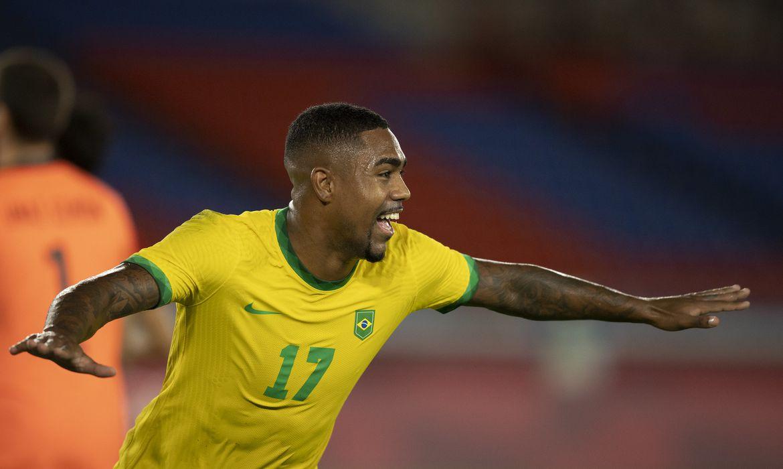Malcom marca no segundo tempo da prorrogação gol da vitória com a Espanha na final olímpica - seleção brasileira - ouro - Tóquio 2020
