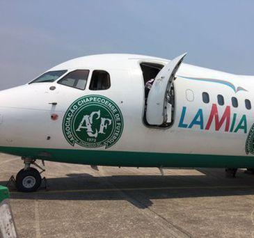 Avião da empresa boliviana Lamia, fretado pela Chapecoense para transportar sua equipe
