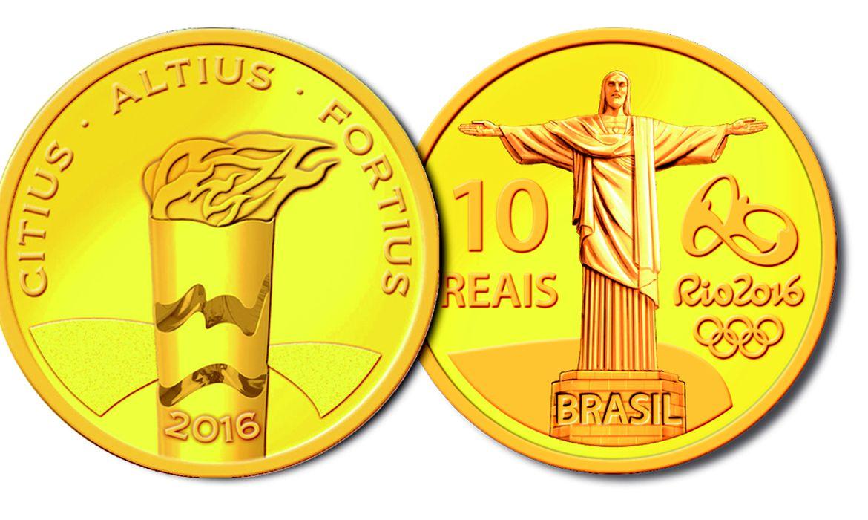 Banco Central lança quarto conjunto de nove moedas comemorativas dos Jogos Olímpicos e Paralímpicos Rio 2016. A moeda de ouro homenageia o Cristo Redentor e a Tocha Olímpica (Divulgação/Banco Central)