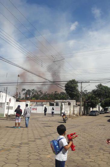 Explosão em um gasômetro da Usina de Ipatinga, em Minas Gerais.