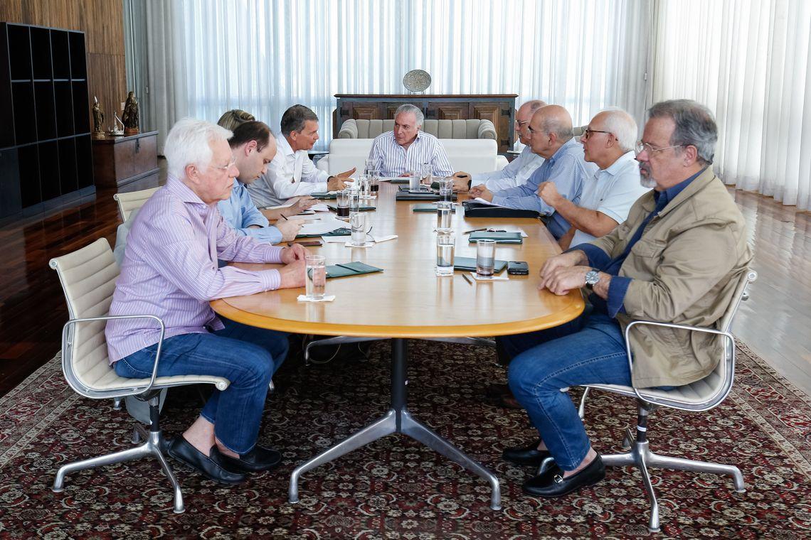 Presidente da República, Michel Temer durante reunião sobre situação migratória no Palácio da Alvorada.