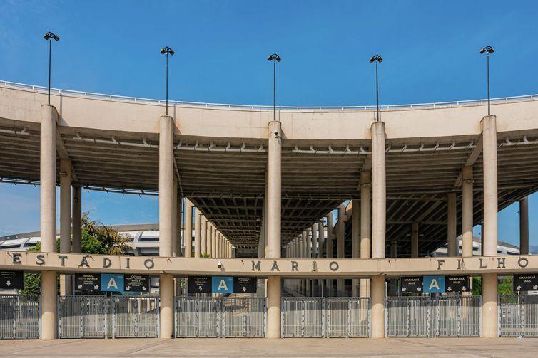 Entrada principal do Estádio Mário Filho, o Maracanã, que completa 70 anos em 2020