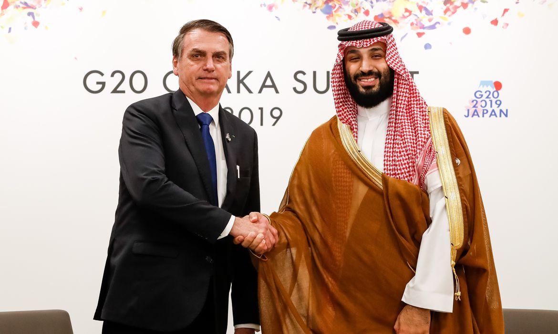 Presidente da República, Jair Bolsonaro, durante encontro bilateral com o Principe Herdeiro da Arábia Saudita, Mohammed Bin Salman, em Osaka, Japão.