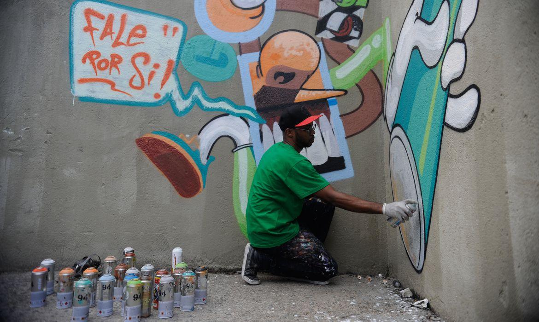 Rio de Janeiro - Prefeitura do Rio cria, em parceria com grafiteiros, o Conselho Carioca do Grafite. Na foto, o artista Airá O Crespo pinta passarela subterrânea na praia de Botafogo (Fernando Frazão/Agência Brasil)