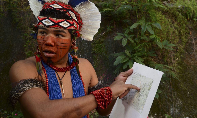 São Paulo - O índio Pataxó Hã Hã Hãe, Tawary Titiah, da etnia Baenã, do sul da Bahia, denuncia invasão de suas terras por madeireiros e jagunços para a retirada ilegal de madeira (Rovena Rosa/Agência Brasil)