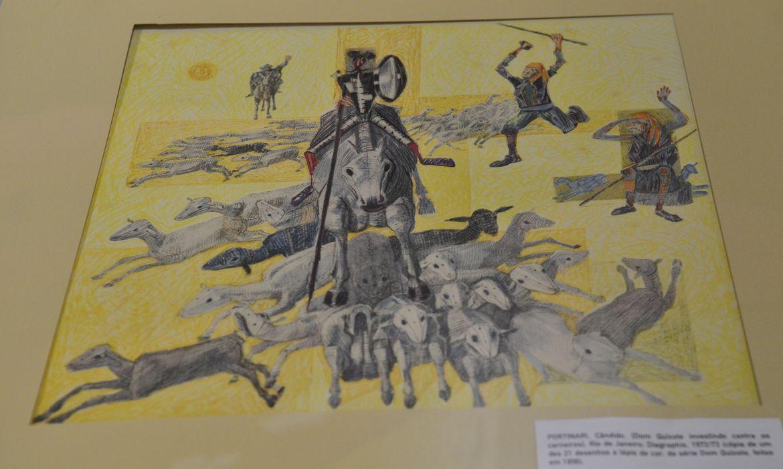 Exposição Brasil: incontáveis linhas, incontáveis histórias, que mostra ilustrações brasileiras originais de 55 autores. Na foto, ilustração de Dom Quixote por Cândido Portinari (Fernando Frazão/Agência Brasil)