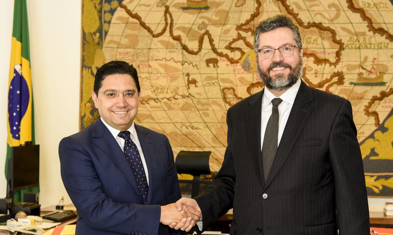 Ministro das Relações Exteriores, Ernesto Araújo, recebe o ministro dos Negócios Estrangeiros e da Cooperação Internacional do Reino do Marrocos, Nasser Bourita.