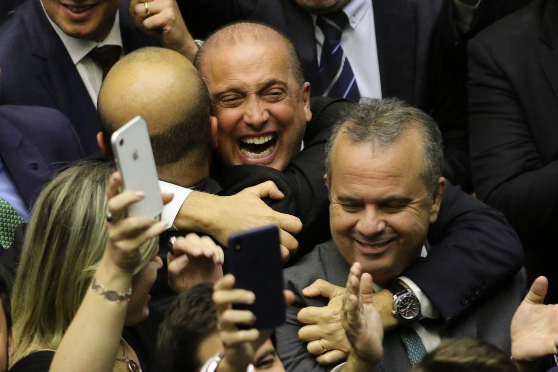 O deputado, Onyx Lorenzoni, durante comemoração da aprovação do  texto-base da reforma da Previdência na Câmara dos Deputados