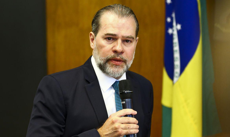 O presidente do Supremo Tribunal Federal, Dias Toffoli, durante reunião com o presidente da Câmara dos Deputados, Rodrigo Maia.