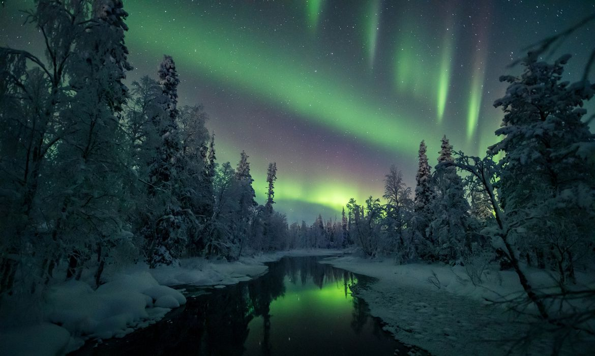 Aurora Borealis (Northern Lights) is seen in the sky over Muonio in Lapland