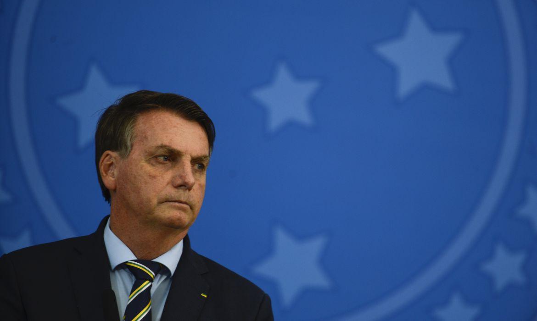 O presidente Jair Bolsonaro, durante pronunciamento no Palácio do Planalto