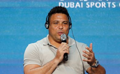 Ronaldo Nazario de Lima, Chairman of Real Valladolid gestures during the Dubai International Sports Conference in Dubai