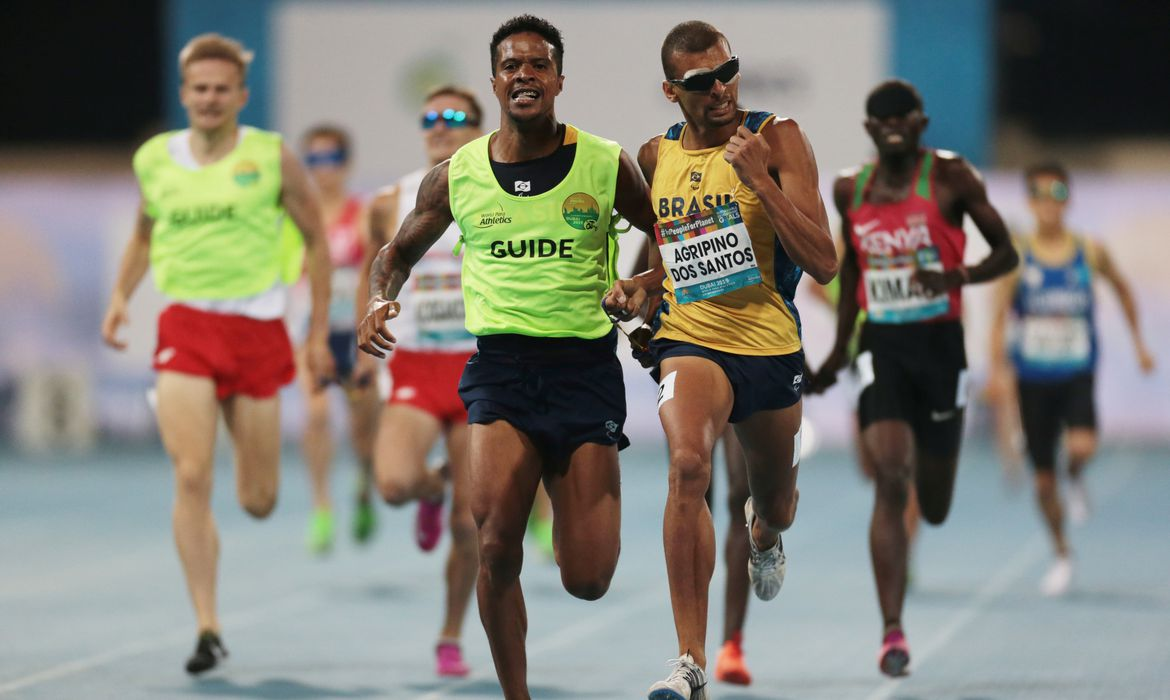 Athletics - 2019 World Para Athletics Championships - Dubai Club for People of Determination Athletics Stadium, Dubai, United Arab Emirates - November 8, 2019  Brazil's Julio Cesar Agripino dos Santos in action on his way to winning the MenÕs