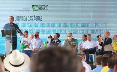 Presidente da República, Jair Bolsonaro, durante a cerimônia de inauguração da obra do trecho final do Eixo Norte do Projeto de Integração do Rio São Francisco.