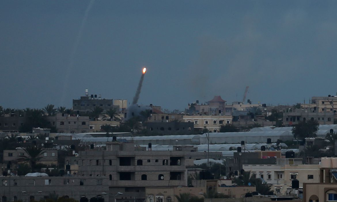 Rocket is fired towards Israel, in the southern Gaza Strip