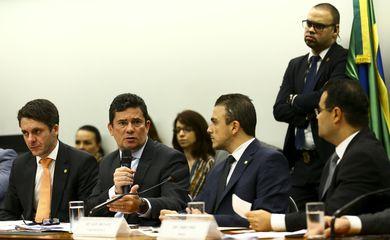 O ministro da Justiça e Segurança Pública, Sergio Moro, durante audiência pública da comissão especial que analisa a proposta de emenda à Constituição da prisão após julgamento em segunda instância
