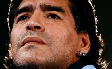 FILE PHOTO:  Argentina's soccer team head coach Maradona attends a news conference in Marseille