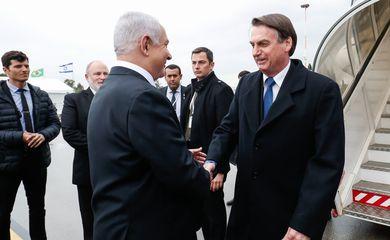 O primeiro-ministro de Israel, Benjamin Netanyahu, recebe o presidente da República, Jair Bolsonaro, em cerimônia oficial de chegada à Israel.