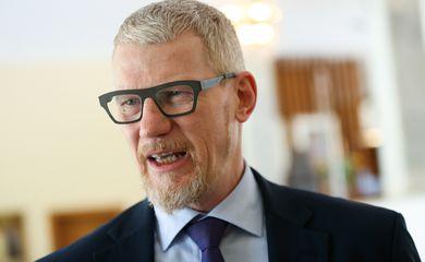 O embaixador da Noruega, Nils Martin Gunneng, durante lançamento do projeto Diálogos Nórdicos, sobre a igualdade de gênero no Brasil.