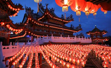 Lanterns are lit up at Thean Hou Temple, during Chinese Lunar New Year celebrations, amid the coronavirus disease (COVID-19) outbreak in Kuala Lumpur