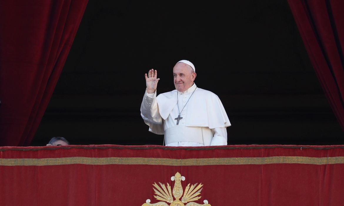 Pope Francis arrives to deliver the
