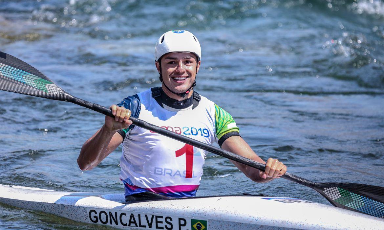 Pedro Gonçalves, durante Jogos Pan-Americanos de Lima, na canoagem slalom k1