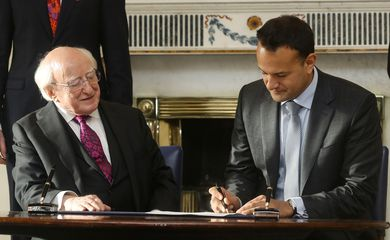 The Irish Taoiseach (Prime Minister) Leo Varadkar with President Michael D.Higgins at Aras an Uachtarain (The President's residence) dissolves the government in Dublin, Ireland January 14, 2020. REUTERS/Lorraine O'Sullivan