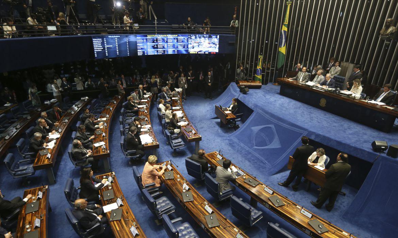 Brasília -  Sessão do Senado conduzida pelo presidente do STF, Ricardo Lewandowski, vai decidir se a presidenta Dilma Rousseff será levada a julgamento por crime de responsabilidade (Antonio Cruz/Agência Brasil)