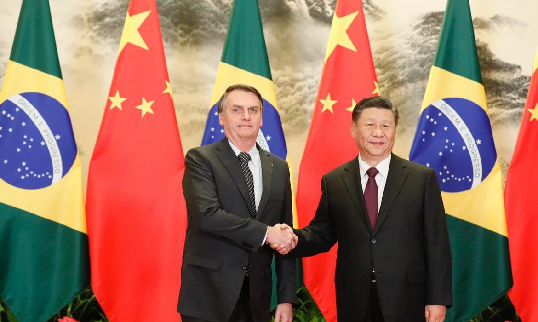 O presidente Jair Bolsonaro, durante encontro oficial com o presidente da República Popular da China, Xi Jiping.