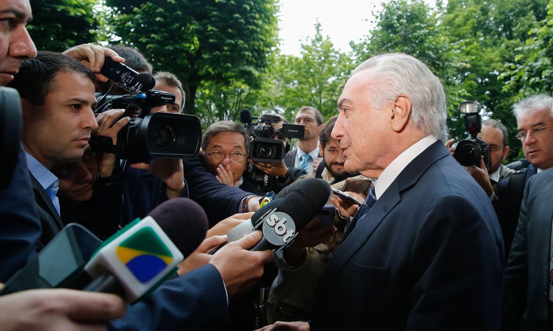 O presidente Michel Temer fala à imprensa em Hamburgo, na Alemanha - Foto Rogério Melo/PR