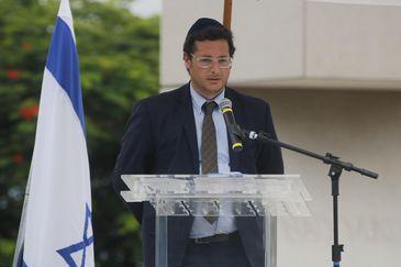 O  secretário especial de Comunicação Social, Fábio Wajngarten, durante inauguração do Monumento em Memória às Vítimas do Holocausto