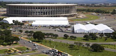 Estádio Mané Garrincha com estrutura montada para o Fórum Mundial da Água 2018