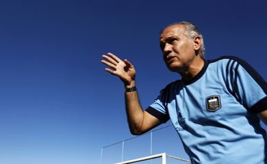 Argentina's national soccer team head coach Alejandro Sabella reacts during an interview with Reuters in Buenos Aires