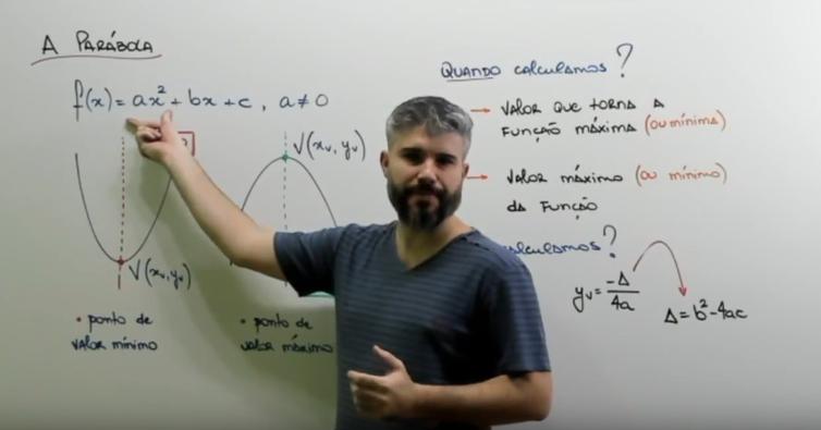 O professor Diego Viug explica sobre Vértice da Parábola