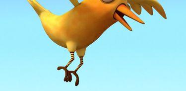 Opassarinho amarelo chamado Piu é ogrande parceiro de aventuras do Godofredo